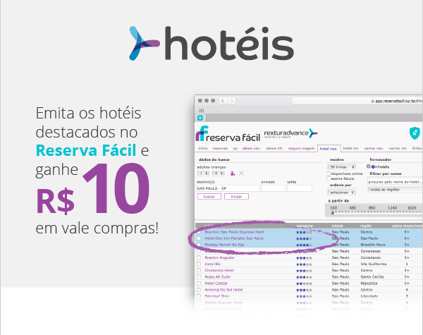 Emita os hotéis destacados do Reserva Fácil e ganhe! | RexturAdvance